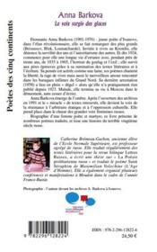 Anna Barkova ; la voie surgie des glaces - 4ème de couverture - Format classique