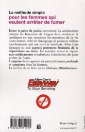 La méthode simple pour les femmes qui veulent arrêter de fumer ; sans prendre de poids - 4ème de couverture - Format classique