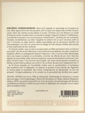 Sincères condoléances - 4ème de couverture - Format classique