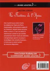 Le fantôme de l'Opéra - 4ème de couverture - Format classique