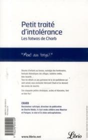 Petit traité d'intolérance - 4ème de couverture - Format classique