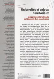 Universités et enjeux territoriaux ; une comparaison internationale de l'économie de la connaissance - 4ème de couverture - Format classique