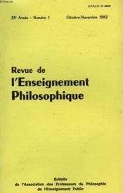 REVUE DE L'ENSEIGNEMENT PHILOSOPHIQUE, 33e ANNEE, N° 1, OCT.-NOV. 1982 - Couverture - Format classique