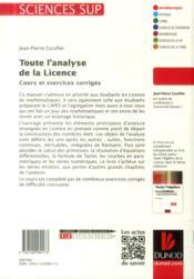 Toute l'analyse de la licence ; cours et exercices corrigés - 4ème de couverture - Format classique