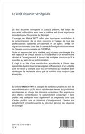 Droit douanier sénégalais - 4ème de couverture - Format classique