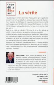 Ce Que Dit La Bible Sur... ; La Vérité - 4ème de couverture - Format classique