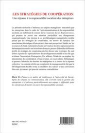 Stratégies de coopération ; une réponse à la responsabilité sociétale des entreprises - 4ème de couverture - Format classique