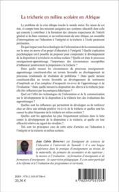 Tricherie en milieu scolaire en Afrique ; quels enjeux ? - 4ème de couverture - Format classique