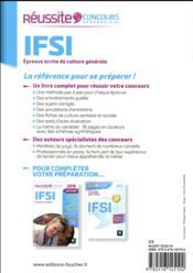 Réussite concours ; IFSI épreuve écrite de culture générale (édition 2018) - 4ème de couverture - Format classique