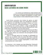 Deux lectures du jeune Marx - 4ème de couverture - Format classique