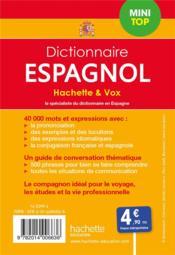 Dictionnaire Hachette & Vox mini top ; français-espagnol / espagnol-français - 4ème de couverture - Format classique