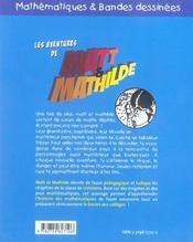 Les Aventures De Matt & Mathilde Mathematiques & Bandes Dessinees - 4ème de couverture - Format classique