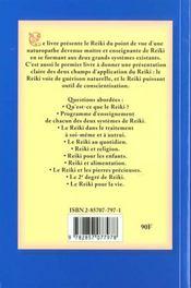 Reiki pour la vie - avec une introduction pratique aux deux systemes de reiki - 4ème de couverture - Format classique