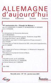 Revue Allemagne D'Aujourd'Hui N.179 ; 15e Anniversaire Du