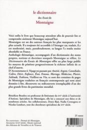 Le dictionnaire des essais de Montaigne - 4ème de couverture - Format classique