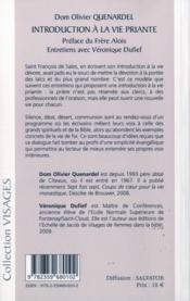 Introduction à la vie priante - 4ème de couverture - Format classique