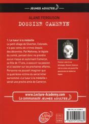 Dossier Cameryn t.1 ; la tueur à la médaille - 4ème de couverture - Format classique