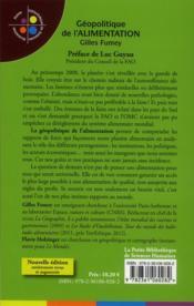 Géopolitique de l'alimentation - 4ème de couverture - Format classique