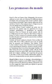 La trilogie du jeu de vivre t.1 ; les promesses du monde - 4ème de couverture - Format classique