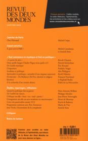 REVUE DES DEUX MONDES ; politique et mystique - 4ème de couverture - Format classique