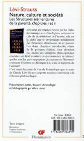 Nature, culture et société ; les structures élémentaires de la parenté, chapitres I et II - 4ème de couverture - Format classique