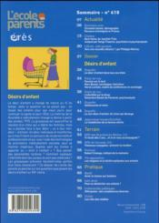L'école des parents ; EPE t.618 ; désirs d'enfants - 4ème de couverture - Format classique