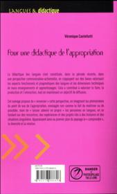 Pour une didactique de l'appropriation ; diversité, compréhension, relation - 4ème de couverture - Format classique