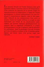 Schopenhauer philosophe de l'absurde - 4ème de couverture - Format classique