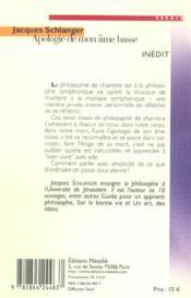 Apologie de mon âme basse - 4ème de couverture - Format classique