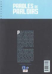 Paroles de parloirs t.3 - 4ème de couverture - Format classique