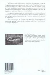 Parlementaires de la seine sous la iiie republique - 4ème de couverture - Format classique