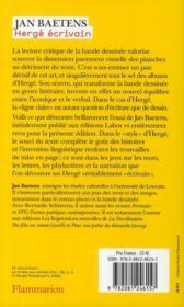 Hergé écrivain - 4ème de couverture - Format classique