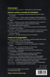 Traces ; A Quoi Servent Les Sciences Humaines T.2 ; Sciences Sociales Et Monde De L'Entreprise; A Quoi Sert La Géographie ? - 4ème de couverture - Format classique
