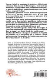 Essais D'Algerie - 4ème de couverture - Format classique