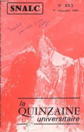 La Quinzaine Universitaire N°853 - Couverture - Format classique