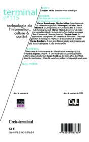 Revue terminal T.115 ; pratiques des outils numériques et relations sociales ; 11e séminaire Marsouin - 4ème de couverture - Format classique