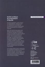 Guide juridique du propriétaire d'équidé - 4ème de couverture - Format classique