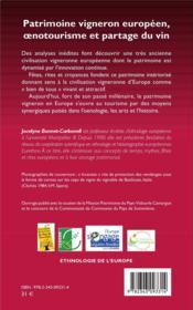 Patrimoine vigneron européen, oenotourisme et partage du vin - 4ème de couverture - Format classique