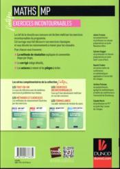 Maths ; les exercices incontournables MP (3e édition) - 4ème de couverture - Format classique