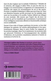 Alzheimer : l'éthique à l'écoute des petites perceptions - 4ème de couverture - Format classique