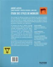 Étude des styles de mobilier (3e édition) - 4ème de couverture - Format classique
