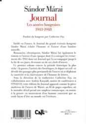 Journal t.1 ; les années hongroises : 1943-1948 - 4ème de couverture - Format classique