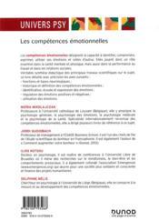 Les compétences émotionnelles - 4ème de couverture - Format classique