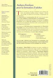 Ateliers ecrit.format.adultes - 4ème de couverture - Format classique