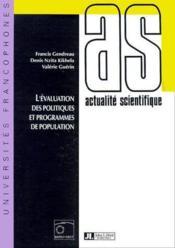 L'évaluation des politiques et programmes de population - Couverture - Format classique