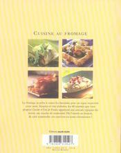 Cuisine au fromage - 4ème de couverture - Format classique