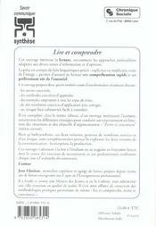 Lire Et Comprendre - 4ème de couverture - Format classique