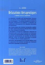 Relaxations thérapeutiques (2e édition) - 4ème de couverture - Format classique