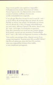 L'etre et le neutre a partir de maurice blanchot - 4ème de couverture - Format classique