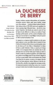 La duchesse de Berry ; l'oiseau rebelle des Bourbons - 4ème de couverture - Format classique
